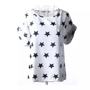 Cute Relaxed Black & White Starry Fit Top
